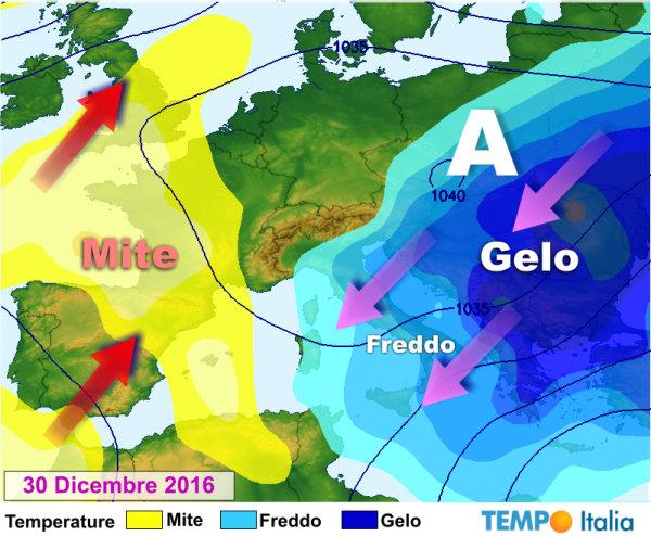 METEO: alta pressione fino a Capodanno, arriva freddo al Sud