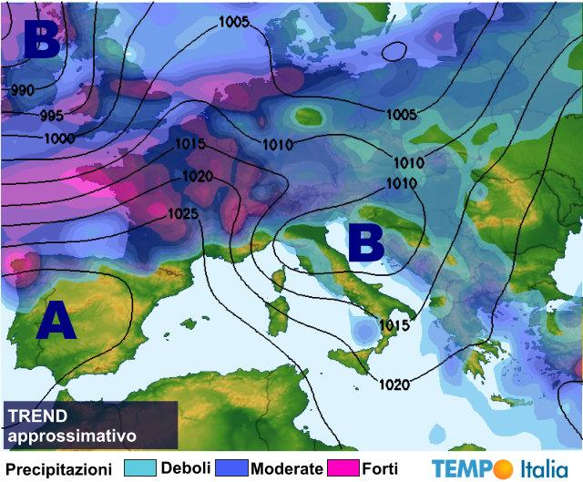 Meteo: Al Nord piogge e neve domenica temporali al Sud