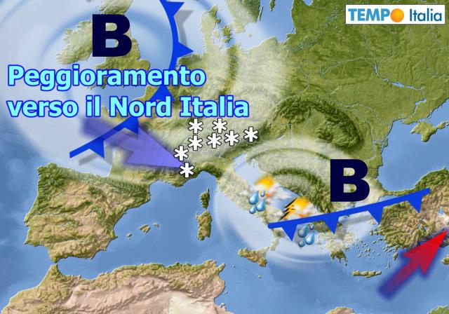 METEO ITALIA. Nuovo MALTEMPO nel WEEKEND e NEVE sulle ALPI