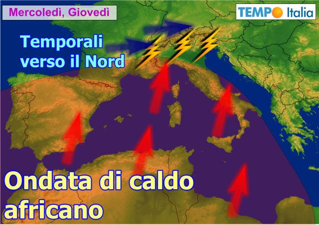 Meteo: in arrivo caldo e afa, ma anche temporali