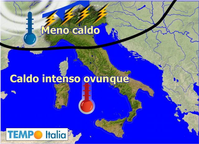 Meteo, Italia spaccata in due: ancora temporali al Nord, caldo al Centrosud