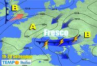 METEO 19-25 settembre: perturbazione fresca su Italia, calo termico clima autunnale, poi migliorerà