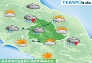 Umbria, possibilità di temporali pomeridiani ad iniziare da oggi e per tutta la settimana
