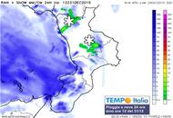Pioggia e neve verso la Calabria