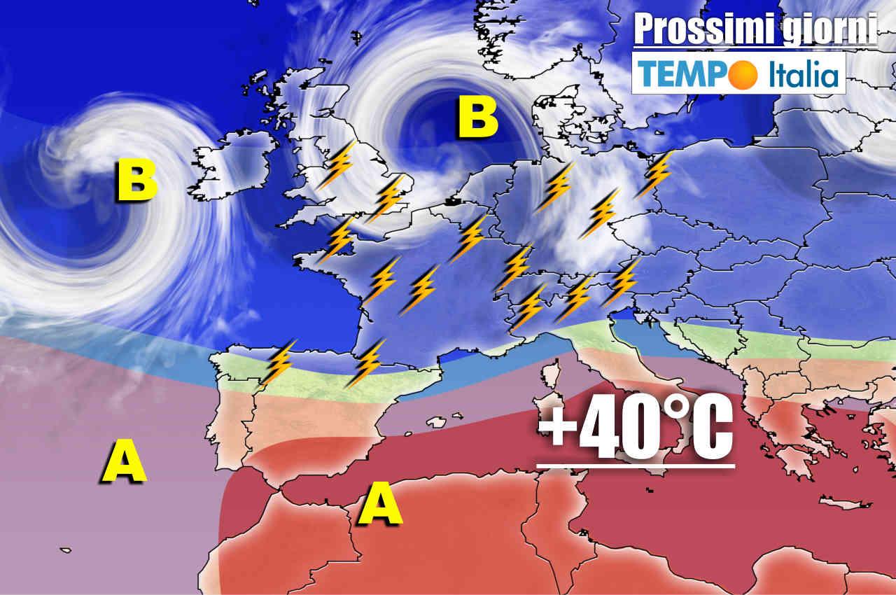 meteo dei prossimi giorni con fasi temporalesche al nord italia e caldo ovunque - Meteo al 2 Luglio: GOCCIA FREDDA poi CALDO, poi vera BURRASCA estiva