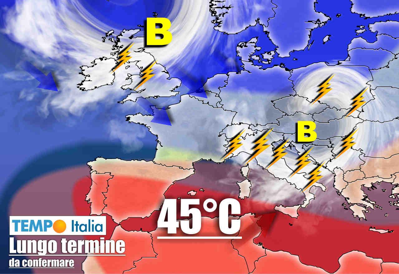 meteo lungo termine con caldo burrasche e gocce aria fredda - Meteo al 12 Luglio: CANICOLA, segue intrusione GOCCIA d'aria FREDDA