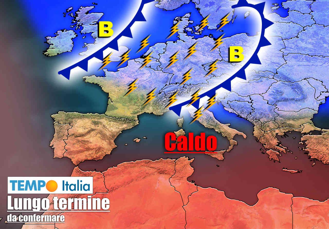 meteo lungo termine con molti temporali - Meteo sino 30 Giugno: CALDO AFRICANO in agguato, ma ancora TEMPORALI