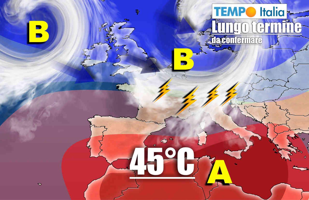 meteo lungo termine con temporali al nord italia e caldo intenso al sud - Meteo sino l'8 Luglio: forte CALDO, segue BURRASCA d'Estate
