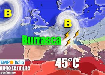 Evoluzione con ondata di caldo e intrusione di aria oceanica verso l'Italia.