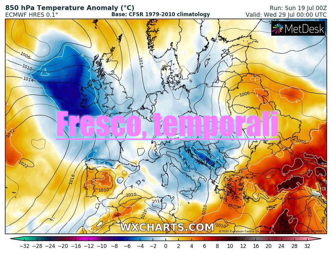 fresco temporali su europa e italia - Irromperà il fresco dopo il caldo. Meteo d'Agosto sempre più a rischio estremo