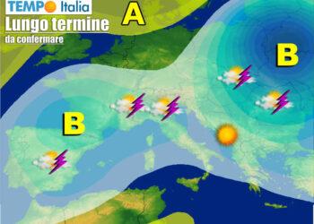 meteo lungo termine 350x250 - METEO sino al 15 Giugno: ulteriore raffica di temporali su Italia