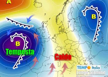 Meteo lungo termine con fase calda preludio di un forte peggioramento.