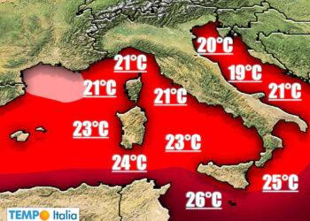 Temperature Mediterraneo elevate rischio meteo estremo.