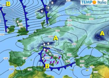 Meteo prossimi giorni con ciclone mediterraneo.