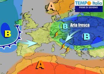 Gli effetti della circolazione fresca sull'Europa Centro-Orientale, che influenzerà anche l'Italia fino almeno al 2 Giugno
