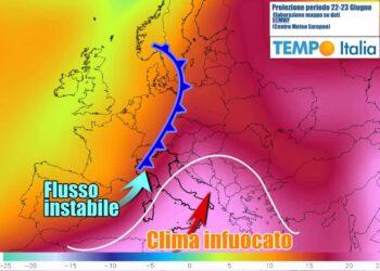 Nella prossima settimana Italia divisa in due, fra caldo e temporali
