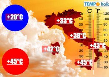 Italia fortemente influenzata dal caldo dell'Africa.