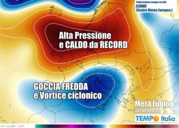 evoluzione meteo instabile con vortice ciclonico