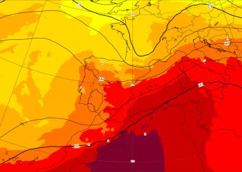 Proiezioni del Centro Meteo Europeo, temperatura a 850 hPa.
