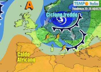 Correnti fresche da nord interesseranno a più riprese l'Italia