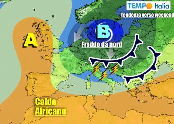 Italia influenzata da ciclone sul Nord Europa