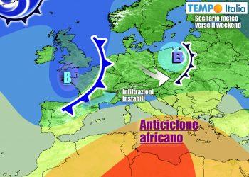 Graduale ritirata dell'anticiclone africano sul finire della settimana