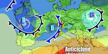 Sequenza di perturbazioni verso l'Italia, legate all'inserimento di piccoli vortici