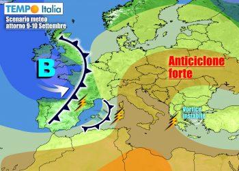 Non è ancora autunno, ma il Mediterraneo sarà raggiunto da nuove infiltrazioni instabili