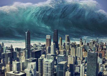 Rappresentazione di un mega tsunami.