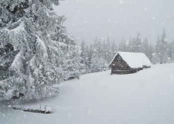 Nevicata alpina invernale.